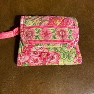 Vera Bradley pink green Velcro wallet